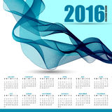 Calendar for 2016 on futuristic wavy background Royalty Free Stock Photos
