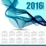 Calendar for 2016 on futuristic wavy background. Simple vector design template vector illustration