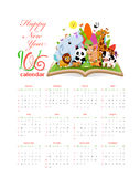 Calendar 2016 with  gardens and animals on the book Royalty Free Stock Image