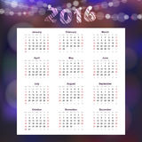 Calendar 2016 with garland of glittering lights,. Illustration background Stock Photo