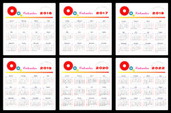 Calendar 2016-2022 Royalty Free Stock Photo