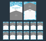 2017 Calendar. Geometric design template. Week starts Sunday. Vector illustration Stock Illustration