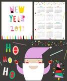 Calendar 2017 in geometric style. Week begin from Sunday. Vector Illustration. Stock Photos