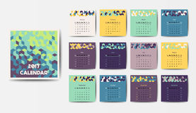The 2017 calendar. Geometric 2017 year calendar in bright colors Royalty Free Stock Photo