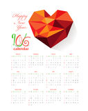 Calendar 2016 with geometrical heart.  Royalty Free Illustration