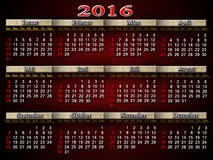 Calendar for 2016 in German on claret Royalty Free Stock Images