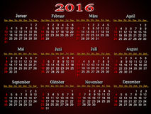 Calendar for 2016 in German on the claret Stock Photography