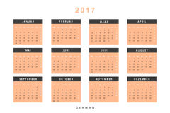 Calendar 2017 in German simple modern. Template with a calendar for 2017 for design. Week starts from Monday Stock Images