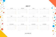Calendar 2017 in German simple modern. Royalty Free Stock Images