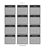 Calendar 2017 in German simple modern. Template with a calendar for 2017 for design. Week starts from Monday Royalty Free Stock Images