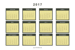 Calendar 2017 in German simple modern. Template with a calendar for 2017 for design. Week starts from Monday Stock Image