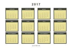 Calendar 2017 in German simple modern. Stock Image