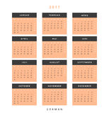 Calendar 2017 in German simple modern. Template with a calendar for 2017 for design. Week starts from Monday Stock Photo