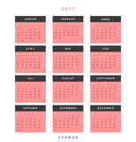 Calendar 2017 in German simple modern. Template with a calendar for 2017 for design. Week starts from Monday Royalty Free Stock Photos