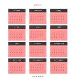 Calendar 2017 in German simple modern. Royalty Free Stock Photos