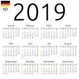 Calendar 2019, German, Sunday. Simple annual 2019 year wall calendar. German language. Week starts on Sunday. Sunday highlighted. No holidays highlighted. EPS 8 Royalty Free Stock Photo