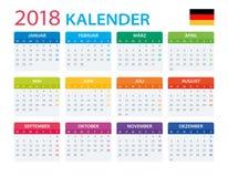 Calendar 2018 - German Version. Illustration Stock Image