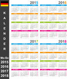 Calendar 2015-2018 Royalty Free Stock Image