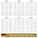 Calendar 2015-2020. German calendar for years 2015-2020, week starts on Monday royalty free illustration