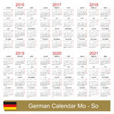 Calendar 2016-2021. German calendar for years 2016-2021, week starts on Monday Royalty Free Stock Photo