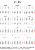 Calendar 2015 for Germany. With holiday marking and holiday dates Stock Image