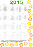 Calendar 2015 for Germany with holidays and flower. Calendar 2015 for Germany starting Monday with official holidays and decorated with flowers Royalty Free Stock Photo