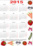 Calendar 2015 for Germany with vegetables. Calendar 2015 for Germany starting Monday with official holidays and decorated with various vegetables Royalty Free Stock Photography