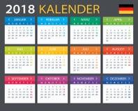 Calendar 2018 - Gerrman version. Illustration Royalty Free Stock Image