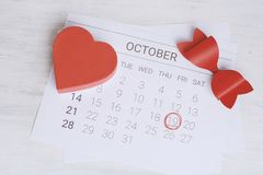 Calendar with gift box. October calendar with red gift box. Date Night, love concept royalty free stock photo