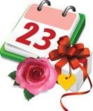 Calendar, gift  box and rose. Royalty Free Stock Photos