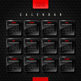 Calendar 2015. Glass frames with month on a black hexagons background Royalty Free Illustration