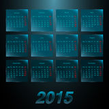 Calendar 2015 on the glass frosted panels. EPS 10 vector illustration