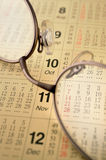 Calendar and glasses Royalty Free Stock Images