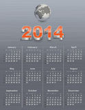 Calendar for 2014 with globe. On a brushed metal texture. Sundays first. Vector illustration Stock Photos