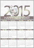 Calendar for 2015. With the goat Royalty Free Stock Photography