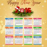 Calendar for 2016 on gold background. Illustration of Calendar for 2016 on gold background Royalty Free Stock Images