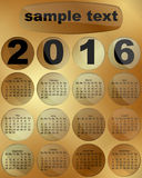 Calendar 2016 on a gold background. Vector illustration Calendar 2016 is made on a gold background, each month is in its own window, there is a place to put the Stock Image