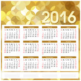 Calendar 2016 on golden abstract background Royalty Free Stock Photos