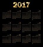 Calendar 2017. Golden abstract background. Vector illustration Royalty Free Stock Photos