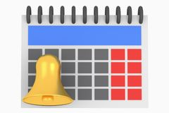 Calendar and golden bell reminder illustration. On white background Royalty Free Stock Images