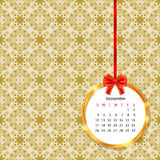 Calendar 2017 in golden circle frame with red bow on vintage decor seamless pattern Stock Photography