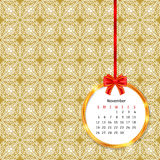 Calendar 2017 in golden circle frame with red bow on vintage decor seamless pattern. Vector illustration for your design Stock Images