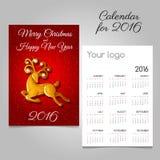 Calendar for 2016 with a Golden reindeer. Calendar for 2016 with a Golden elegant reindeer Stock Photography