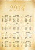Calendar a grade em 2014 em uma parte do papel velho do vintage, A3 Imagens de Stock Royalty Free