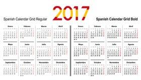 Calendar a grade para 2017 com cores da bandeira da Espanha ilustração royalty free