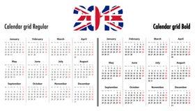 Calendar a grade para 2018 com dígitos BRITÂNICOS das cores da bandeira 2018 ilustração do vetor