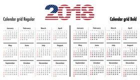 Calendar a grade para 2018 com dígitos das cores da bandeira dos EUA 2018 ilustração do vetor