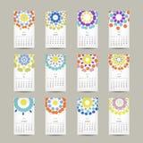 Calendar a grade 2015 para seu projeto, floral Imagens de Stock Royalty Free
