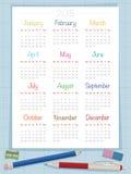 Calendar for 2015. On graph paper background, with pen, pencil, sharpener and eraser vector illustration
