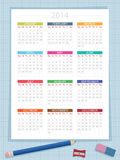 Calendar for 2014. On graph paper background, with pencil, eraser and sharpener, eps 10 format with transparencies stock illustration